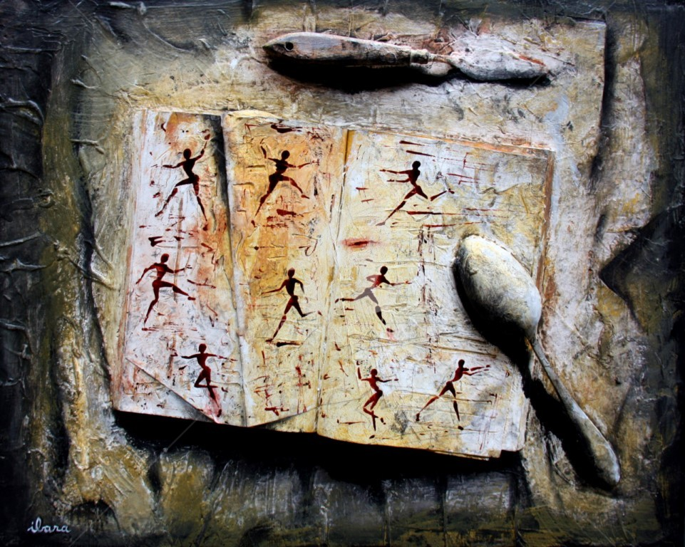 Henri Ibara - livre-objet-n-3-ecriture-du-mouvement-par-ibara-acrylique-et-encre-rouge.jpg