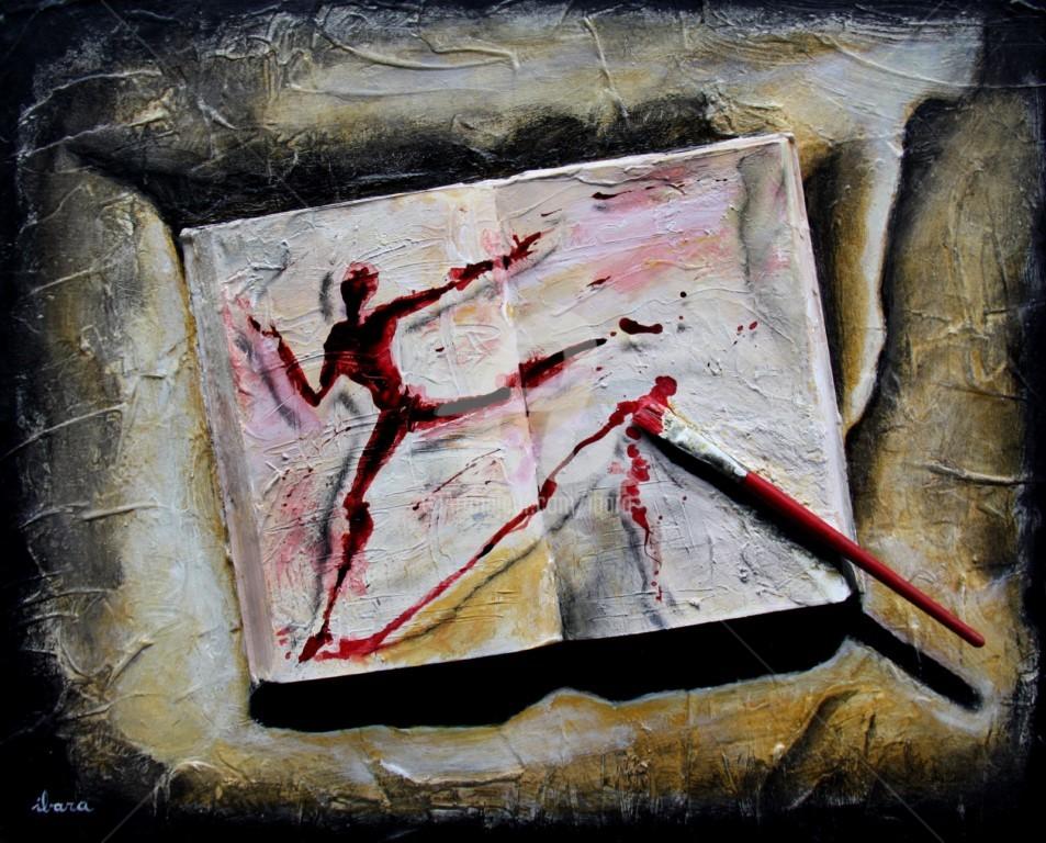 Henri Ibara - livre-objet-n-4-ecriture-du-mouvement-par-ibara-acrylique-et-encre-rouge.jpg