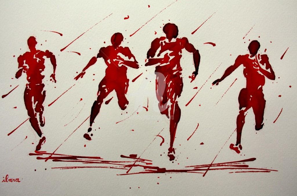 Henri Ibara - arrivee-100m-rio-2016-dessin-d-ibara-a-l-encre-rouge-sur-papier-aquarelle-300gr-format-30cm-sur-42cm-encadre.jpg