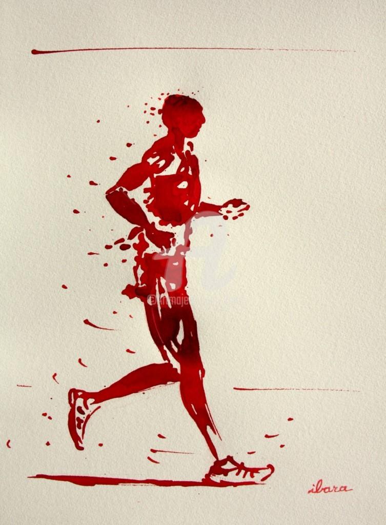Henri Ibara - 50kms-marche-dessin-d-ibara-a-l-encre-rouge-sur-papier-aquarelle-300gr-format-30cm-sur-42cm-encadre.jpg