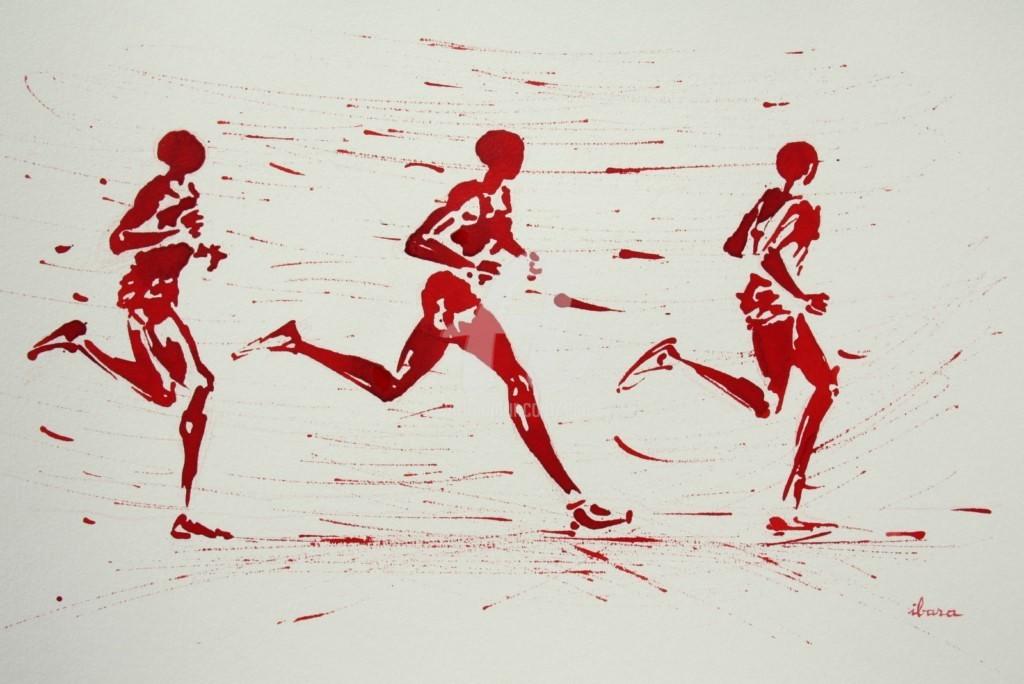 Henri Ibara - 10000m-dessin-d-ibara-a-l-encre-rouge-sur-papier-aquarelle-300gr-format-30cm-sur-42cm-encadre-001.jpg