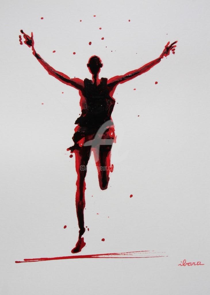 Henri Ibara - arrivee-marathon-dessin-d-ibara-a-l-encre-rouge-et-sanguine-sur-papier-aquarelle-300gr-format-30cm-sur-42cm-encadre.jpg