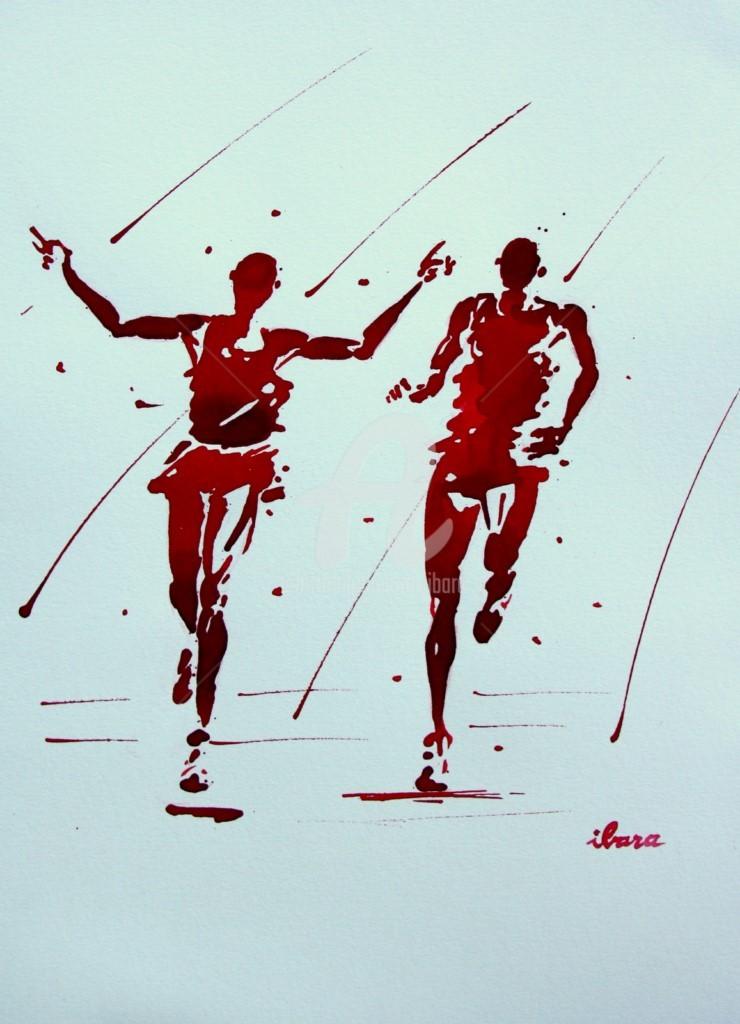 Henri Ibara - arrivee-10000m-dessin-d-ibara-a-l-encre-rouge-et-sanguine-sur-papier-aquarelle-300gr-format-30cm-sur-42cm-encadre.jpg