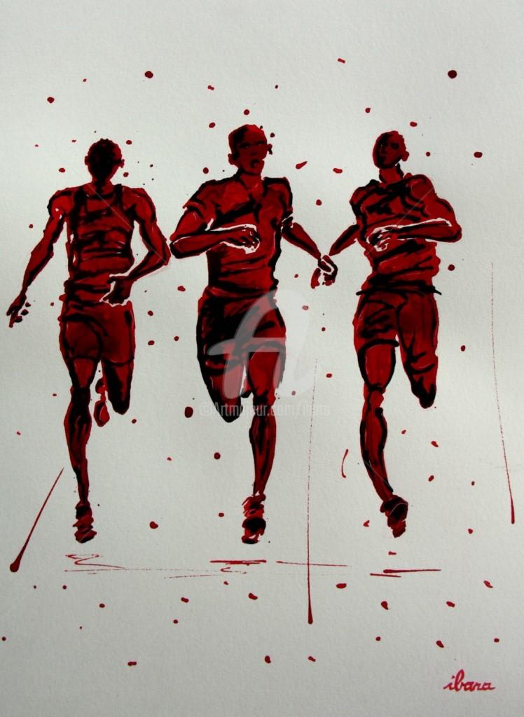 Henri Ibara - arrivee-800m-dessin-d-ibara-a-l-encre-rouge-et-sanguine-sur-papier-aquarelle-300gr-format-30cm-sur-42cm-encadre.jpg