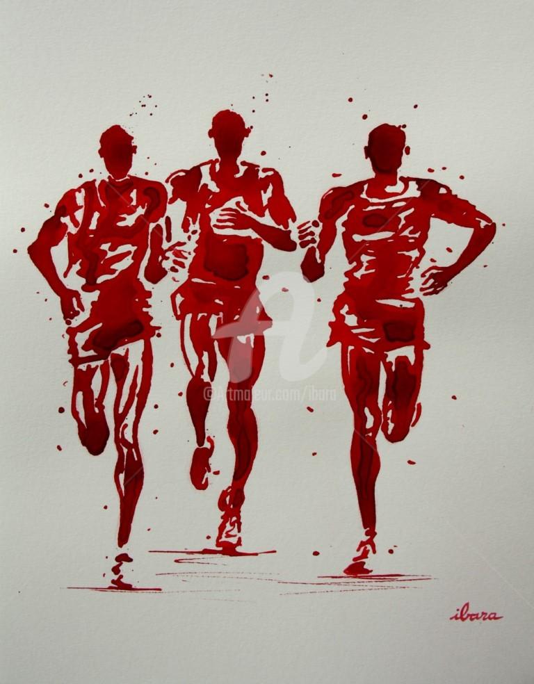 Henri Ibara - course-sur-route-dessin-d-ibara-a-l-encre-rouge-et-sanguine-sur-papier-aquarelle-300gr-format-30cm-sur-42cm-encadre.jpg