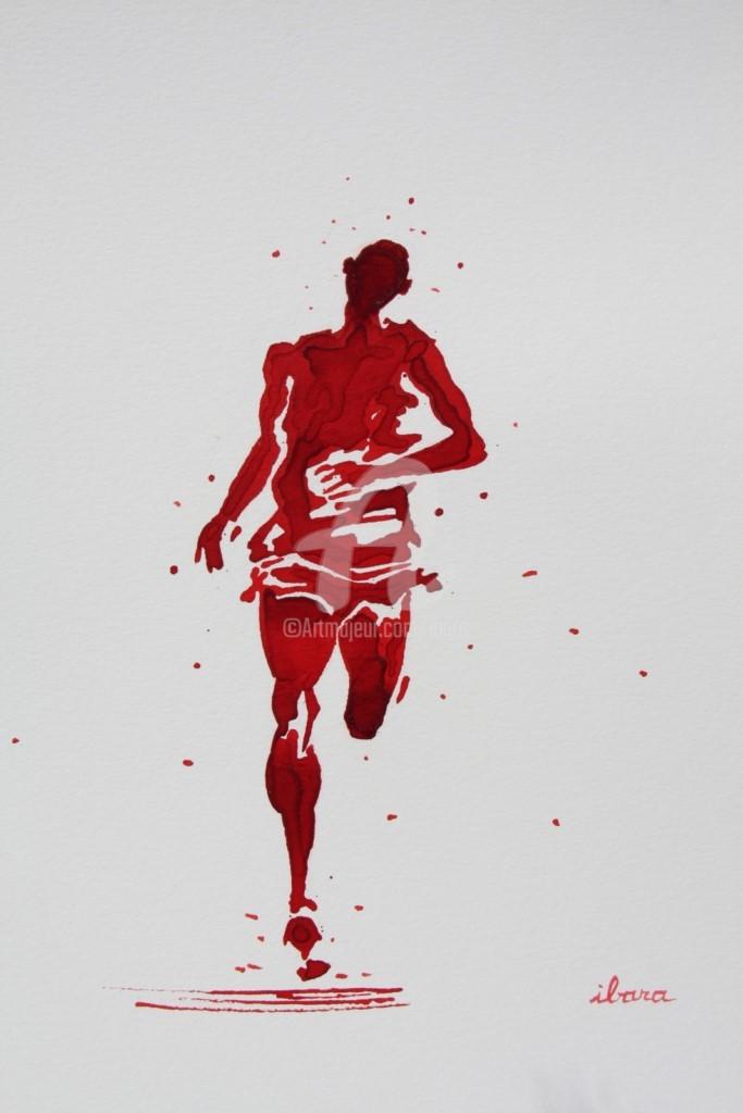 Henri Ibara - coureur-de-marathon-dessin-d-ibara-a-l-encre-rouge-et-sanguine-sur-papier-aquarelle-300gr-format-30cm-sur-42cm-encadre.jpg