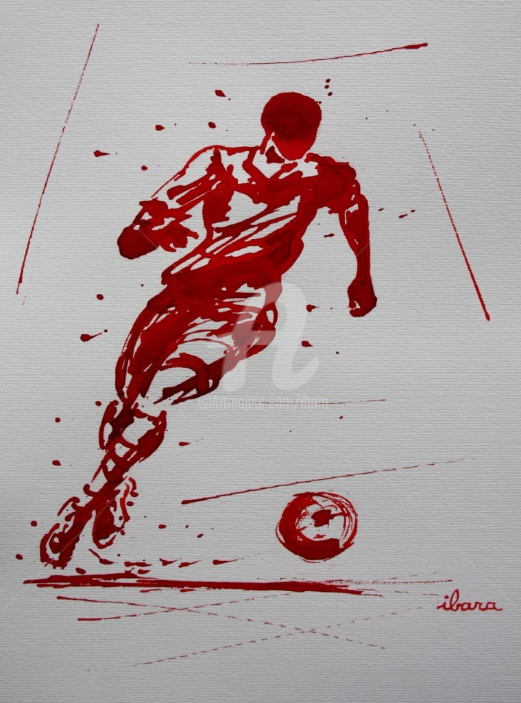 Henri Ibara - football-n-81-dessin-d-ibara-a-l-encre-rouge-sur-papier-aquarelle-300gr-format-30cm-sur-42cm.jpg