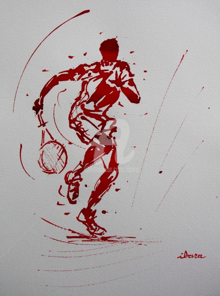 Henri Ibara - tennis-n-20-dessin-d-ibara-a-l-encre-rouge-sur-papier-aquarelle-300gr-format-30cm-sur-42cm.jpg