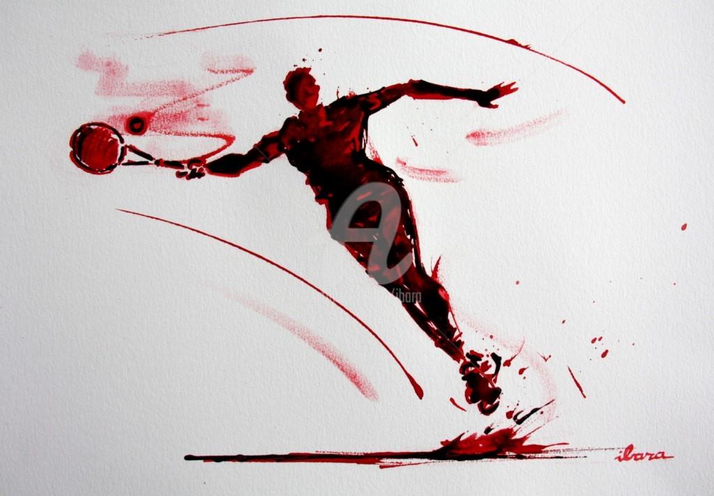 Henri Ibara - tennis-n-21-dessin-d-ibara-a-l-encre-rouge-et-sanguine-sur-papier-aquarelle-300gr-format-30cm-sur-42cm.jpg