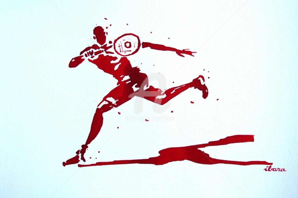 Henri Ibara - tennis-n-22-dessin-d-ibara-a-l-encre-rouge-sur-papier-aquarelle-300gr-format-30cm-sur-42cm.jpg