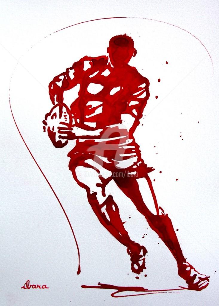 Henri Ibara - rugby-n-47-dessin-d-ibara-encre-rouge-sur-papier-aquarelle-format-30cm-sur-42cm.jpg