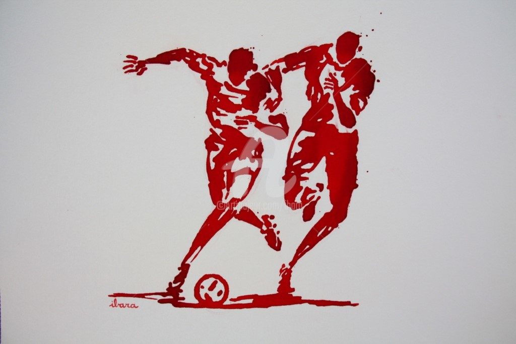 Henri Ibara - football-n-82-dessin-d-ibara-a-l-encre-rouge-sur-papier-aquarelle-300gr-format-30cm-sur-42cm.jpg