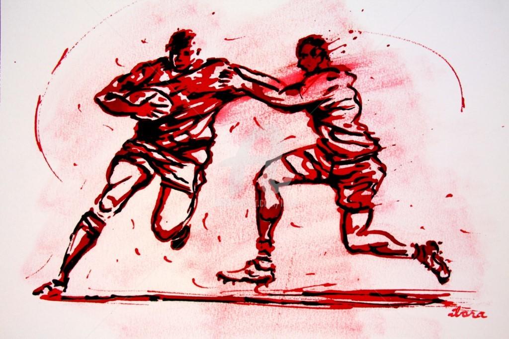 Henri Ibara - rugby-n-48-dessin-d-ibara-encre-rouge-sur-papier-aquarelle-format-30cm-sur-42cm.jpg