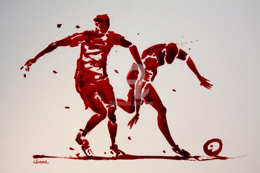Henri Ibara - football-n-83-dessin-d-ibara-a-l-encre-rouge-sur-papier-aquarelle-300gr-format-30cm-sur-42cm.jpg