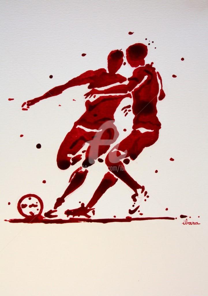 Henri Ibara - football-n-84-dessin-d-ibara-a-l-encre-rouge-sur-papier-aquarelle-300gr-format-30cm-sur-42cm.jpg