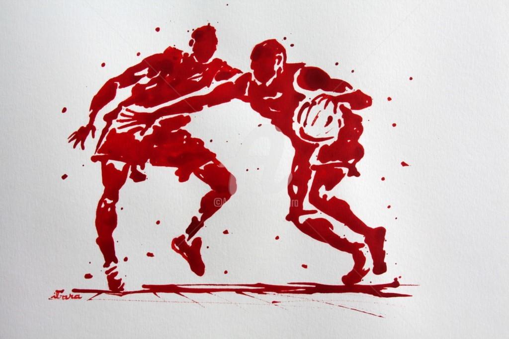 Henri Ibara - basket-n-16-dessin-d-ibara-a-l-encre-rouge-papier-aquarelle-300gr-format-30cm-sur-42cm.jpg