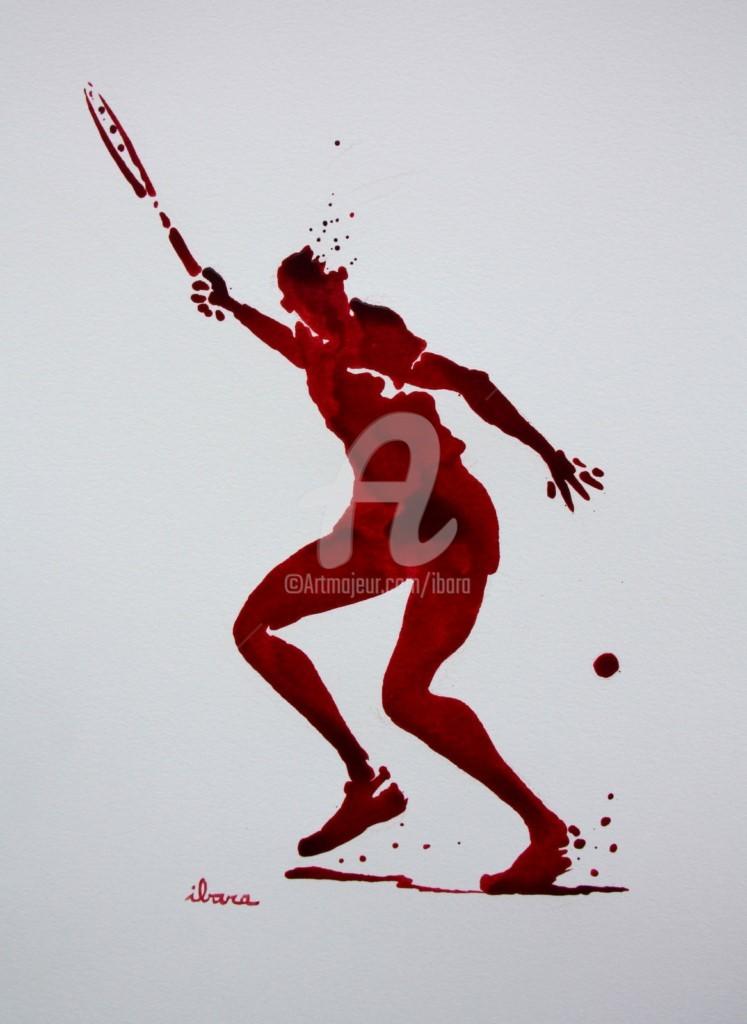 Henri Ibara - tennis-n-23-dessin-d-ibara-a-l-encre-rouge-sur-papier-aquarelle-300gr-format-30cm-sur-42cm.jpg