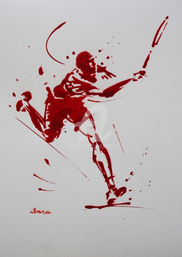 Henri Ibara - tennis-n-24-dessin-d-ibara-a-l-encre-rouge-sur-papier-aquarelle-300gr-format-30cm-sur-42cm.jpg
