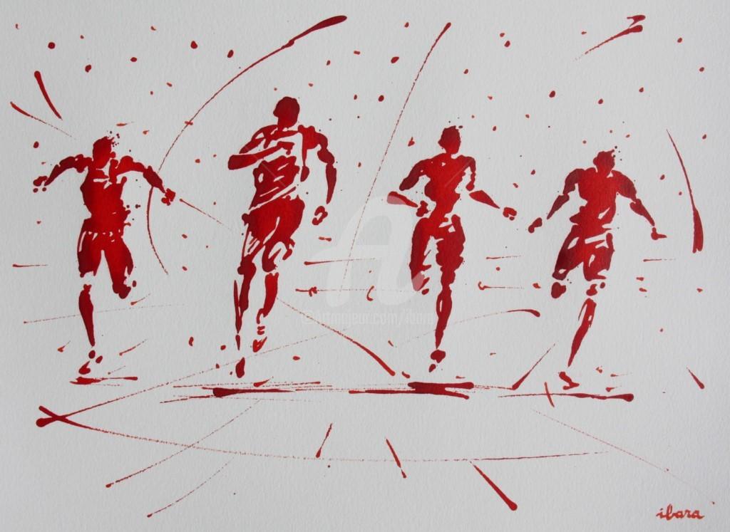 Henri Ibara - arrivee-100m-n-8-dessin-d-ibara-a-l-encre-rouge-sur-papier-aquarelle-300gr-format-30cm-sur-42cm.jpg