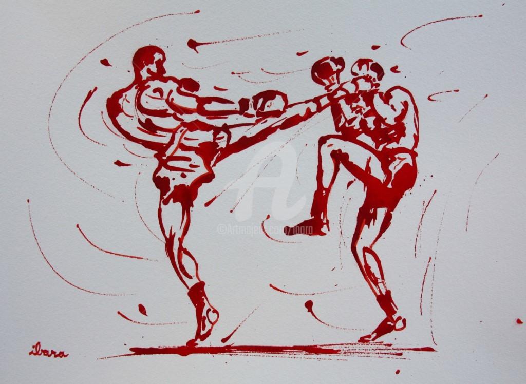 Henri Ibara - boxe-tai-dessin-d-ibara-a-l-encre-rouge-sur-papier-aquarelle-300gr-format-30cm-sur-42cm.jpg