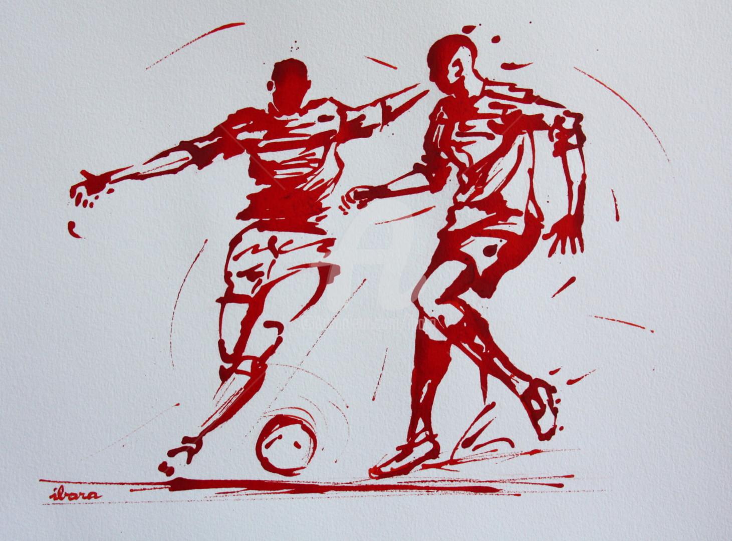 Henri Ibara - football-n-87-dessin-d-ibara-a-l-encre-rouge-sur-papier-aquarelle-300gr-format-30cm-sur-42cm.jpg