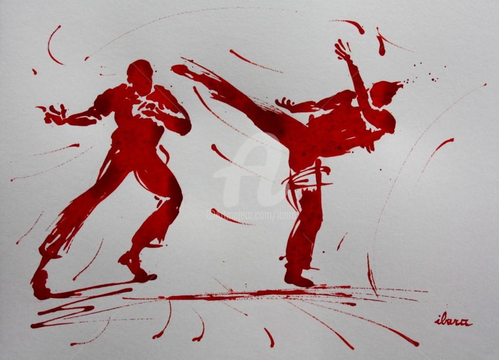 Henri Ibara - capoeira-dessin-de-henri-ibara-encre-rouge-sur-papier-aquarelle-300gr-format-30cm-sur-42cm.jpg