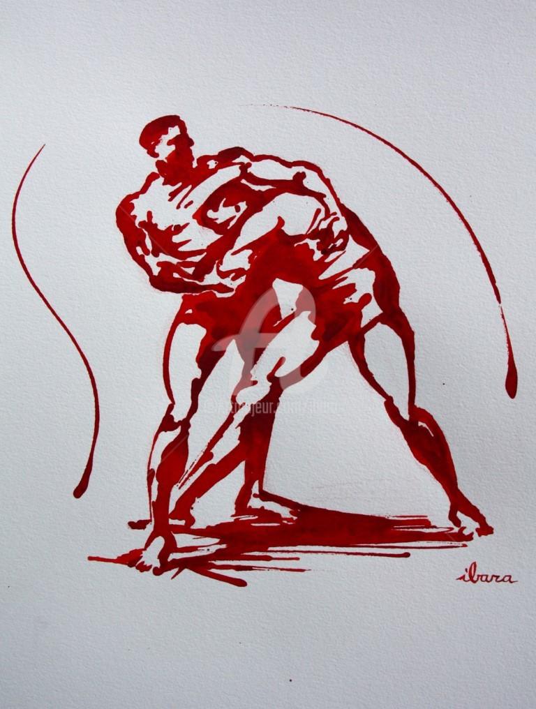 Henri Ibara - lutte-n-4-dessin-encre-de-henri-ibara-sur-papier-aquarelle-300gr-format-30cm-sur-42cm.jpg