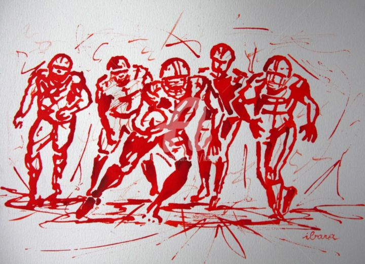Football americain n 1 dessin calligraphique d ibara a l encre - Dessin football americain ...